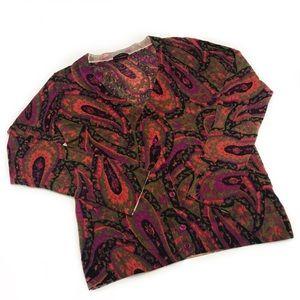 Talbots Small Petit Merino Wool Paisley Cardigan